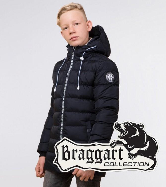 Підліткова зимова куртка Braggart Kids колір сине-чорний