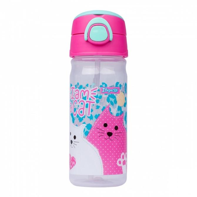"""Пляшка для води з трубочкою 1Вересня """"I am a cat"""", 450 мл 707370"""