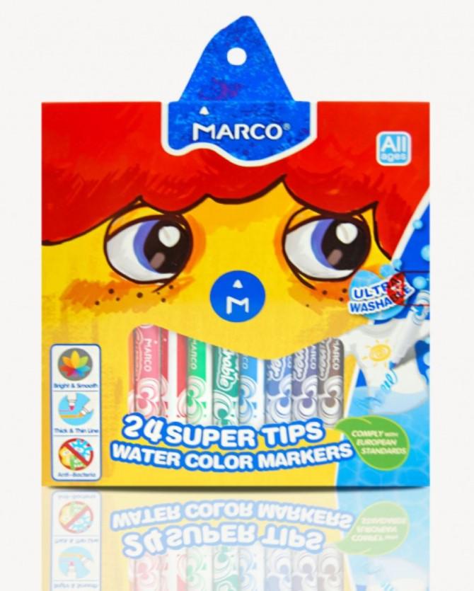 Фломастери Marco Super Washable 1630-24CB, 24 кольори