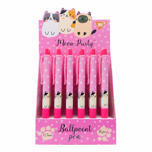 Ручка кулькова YES Meow Party, 0,7 мм, автоматична 411971