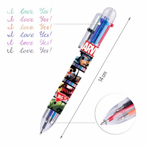Ручка кулькова YES Marvel, 1,0 мм, 6 кольорів 412044