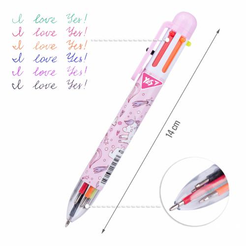 Ручка кулькова YES Unicorn, 1,0 мм, 6 кольорів 412041