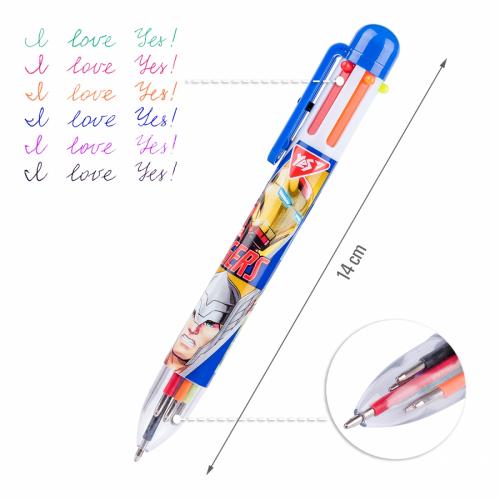 Ручка кулькова YES Marvel, 1,0 мм, 6 кольорів 412049