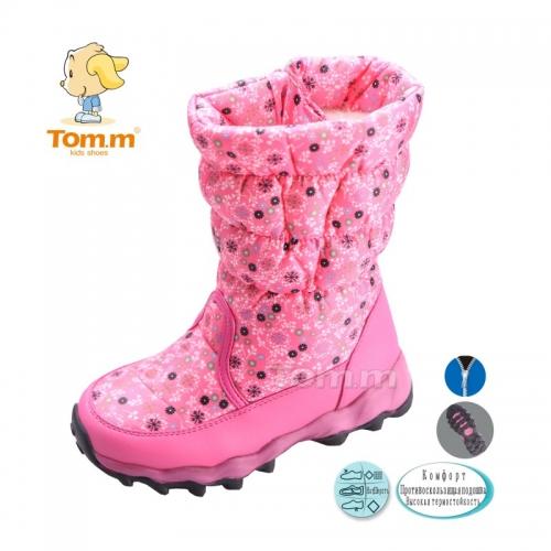 Зимові чобітки для дівчинки з хутром ТМ TOM.M, рожеві