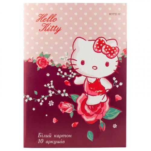 Картон білий односторонній Kite Hello Kitty HK19-254, А4, 10 аркушів, папка