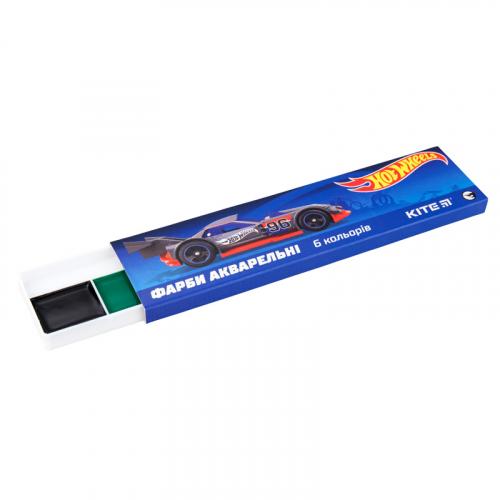Фарби акварельні в картонній упаковці Kite Hot Wheels, 6 кольорів HW19-040