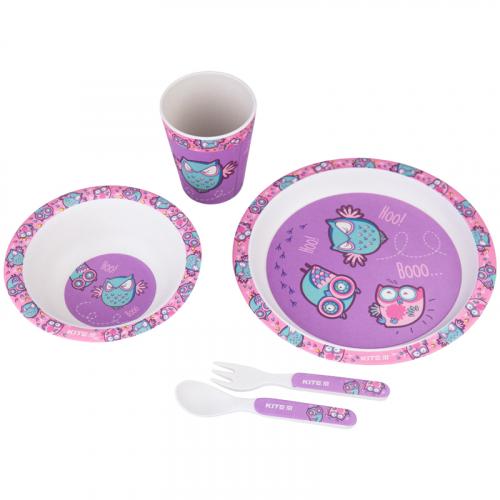 Набір посуду з бамбука у коробці Kite Owls, K20-313-3, 5 предметів