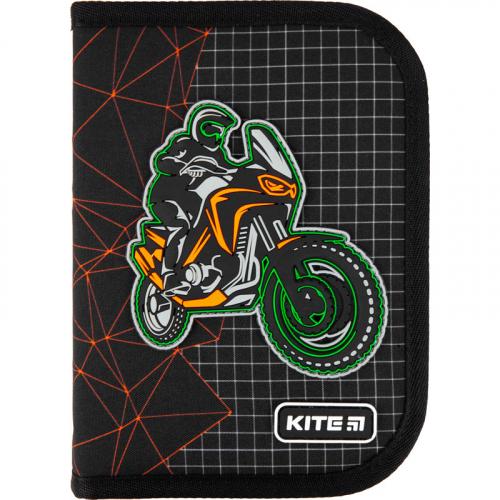 Пенал без наповнення Kite Education Motocross K21-622-2, 1 відділення, 2 відвороти