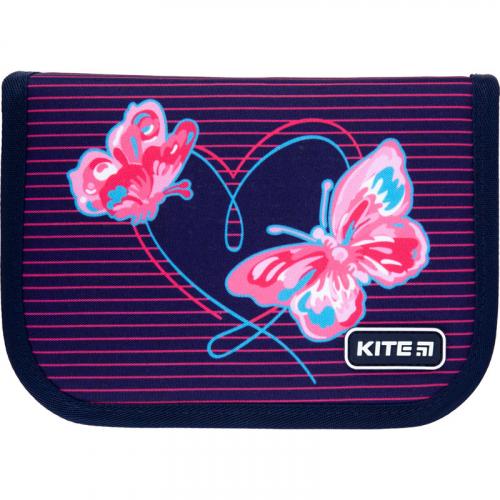 Пенал без наповнення Kite Education Butterflies K21-622-3, 1 відділення, 2 відвороти