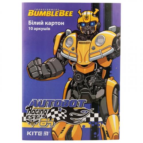 Картон білий односторонній Kite Transformers BumbleBee Movie TF19-254, А4, 10 аркушів, папка