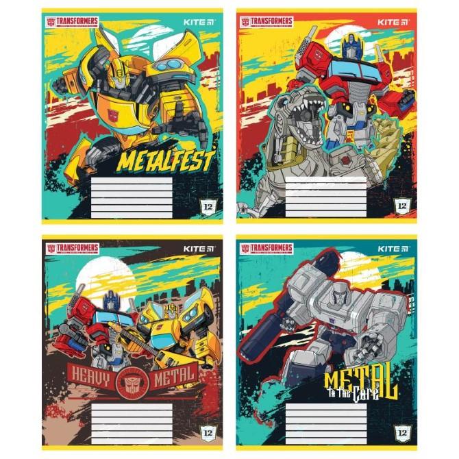 Зошит шкільний Kite Transformers TF21-235, 12 аркушів, коса лінія