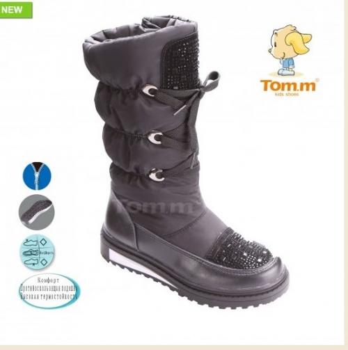 Зимние сапоги TOM.M черные c стразами